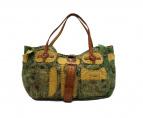 JAMIN PUECH(ジャマンピュエッシュ)の古着「アンティーク加工ハンドバッグ」|ブラウン×グリーン