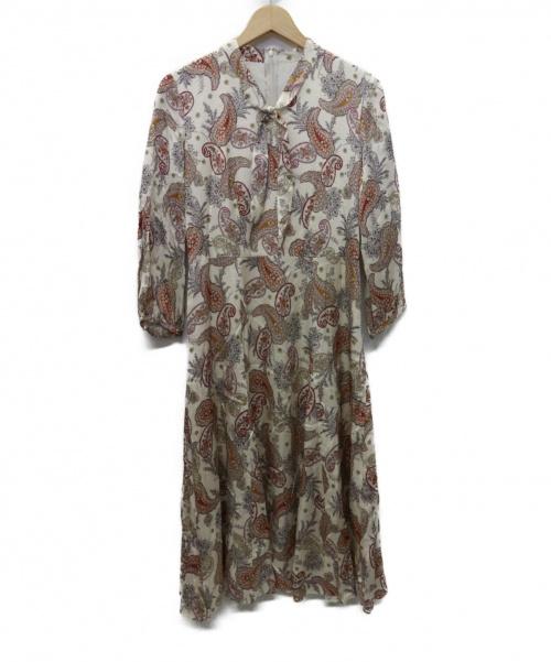 ANAYI(アナイ)ANAYI (アナイ) ペイズリープリントボウタイワンピース ベージュ×ピンク サイズ:38 未使用品 定価¥58.000+税 19AWの古着・服飾アイテム