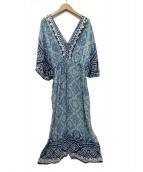 MARIHA(マリハ)の古着「花のドレス シルクワンピース」 ブルー