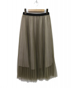 Spick and Span(スピックアンドスパン)の古着「チュールプリーツ スカート」|ベージュ