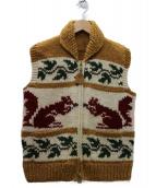 CANADIAN SWEATER(カナディアンセーター)の古着「カウチンニットベスト」 ホワイト×ブラウン