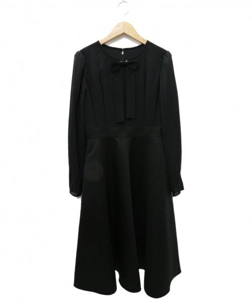 Rene basic(ルネベーシック)Rene basic (ルネベーシック) リボン・パール袖ワンピース ブラック サイズ:34の古着・服飾アイテム