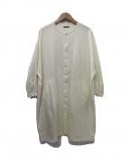 オローネ(オローネ)の古着「ロングシャツバルーンワンピース」|ホワイト