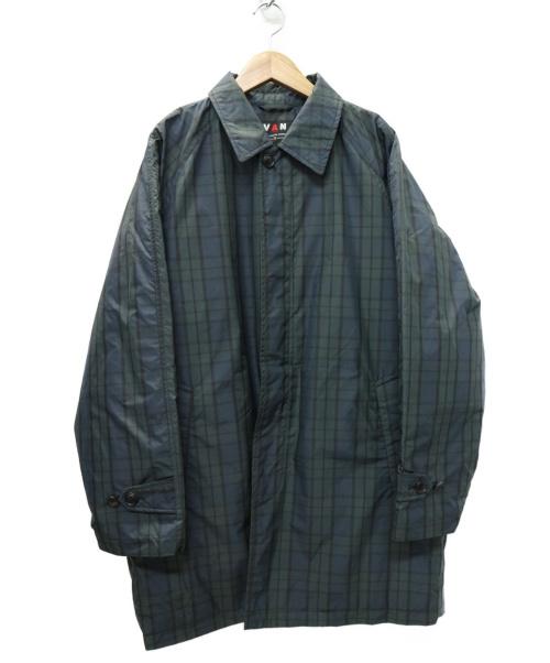 VAN(バン)VAN (バン) ブラックウォッチ キルティングステンカラーコート グリーン サイズ:L チェック KC-87505の古着・服飾アイテム