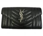 Saint Laurent Paris(サンローランパリ)の古着「モノグラム フラップウォレット ラージ長財布」|ブラック