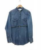 OLD PARK(オールドパーク)の古着「center zip shirt denim デニムシャツ」|スカイブルー