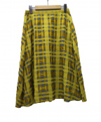 Sally Scott(サリースコット)の古着「テキスタイル フレアスカート」|イエロー