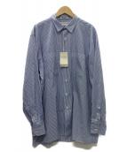 INDIVIDUALIZED SHIRTS(インディビジュアライズドシャツ)の古着「ルーズシルエットレギュラーカラーストライプシャツ」|スカイブルー