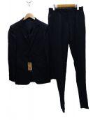 COMME CA MEN(コムサメン)の古着「ジャガードストライプ2Bスーツ」|ネイビー