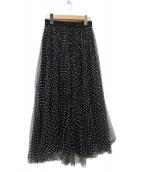 SHE TOKYO(シートーキョー)の古着「Vanessa dot  ドットチュールスカート」|ブラック