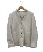 IENA()の古着「ドビーツイードVネックジャケット」|ホワイト