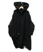 LIMI feu(リミフゥ)の古着「ドルマンスリーブ ワイドコクーンフーデッドコート」|ブラック