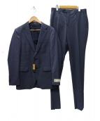 COMME CA MEN(コムサメン)の古着「CERRUTIジョノバワイドストライプスーツ」|ネイビー