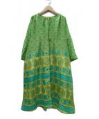 pokipcee(ポキプシー)の古着「羽織シルクワンピース」|グリーン