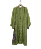 pokipcee(ポキプシー)の古着「羽織シルクワンピース」|イエロー