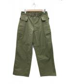WAREHOUSE(ウェアハウス)の古着「U.S.ARMY HERRINGBONE PANTS 」 オリーブ