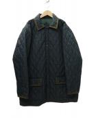 VAN JAC(ヴァンジャケット)の古着「ブラックウォッチキルティングコート」|グリーン