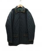 VAN JAC(ヴァンジャック)の古着「ブラックウォッチキルティングコート」|グリーン