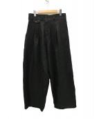YANTOR(ヤントル)の古着「Linenwool 2tuck Wide Pants パンツ」|ブラック