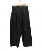 YANTOR(ヤントル)の古着「Linenwool 2tuck Wide Pants パンツ」 ブラック