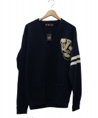 VAN JAC(ヴァン ジャケット)の古着「ワッペンレタードカーディガン」|ネイビー