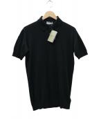 JOHN SMEDLEY(ジョンスメドレ)の古着「30Gシーアイランドコットンニット ポロシャツ」|ブラック