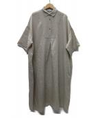 YARRA(ヤラ)の古着「衿付きフロント切り替えワンピース」|ベージュ