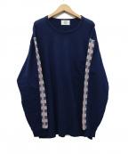 KUON(クオン)の古着「市松格子ロンティーTEE」|ネイビー
