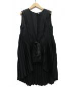 ADEAM(アディアム)の古着「プリーツチュニックブラウス」|ブラック