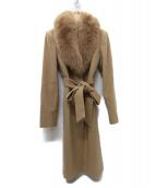 Pinky & Dianne(ピンキーアンドダイアン)の古着「カシミヤ フォックスファー付リボンベルトコート」|ベージュ