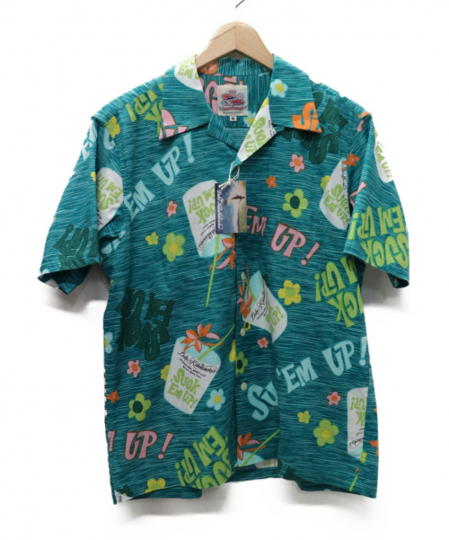 DUKE KAHANAMOKU(デューク カハナモク)DUKE KAHANAMOKU (デューク カハナモク) アロハシャツ「Suck Em Up !」 ブルー サイズ:M 未使用品 20SS完売色 DK38084の古着・服飾アイテム