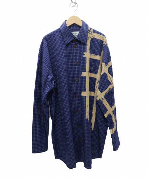 Vivienne Westwood man(ヴィヴィアンウエストウッドマン)Vivienne Westwood man (ヴィヴィアンウエストウッドマン) ハンドローンチェック ビッグシェイプシャツ ブルー サイズ:48の古着・服飾アイテム