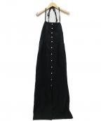 COEL()の古着「リネンドットボタンワンピース」|ブラック