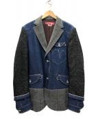 JUNYA WATANABE COMME des GARCON×Levis(ジュンヤワタナベ コムデギャルソン×リーバイス)の古着「20AW現行 綿セルヴィッチデニム×ツイードジャケット」|インディゴ