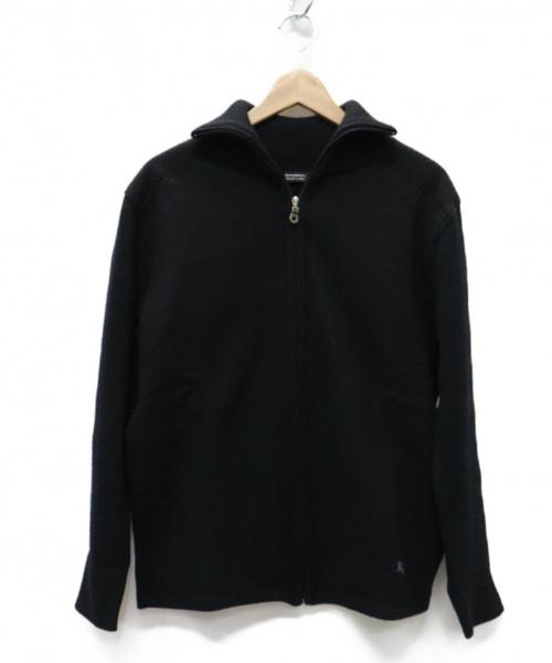 BURBERRY BLACK LABEL(バーバリーブラックレーベル)BURBERRY BLACK LABEL (バーバリーブラックレーベル) ノバチェック ホース刺繍 ジップニット ブラック サイズ:3の古着・服飾アイテム
