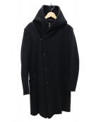 KAZUYUKI KUMAGAI ATTACHMENT(カズユキクマガイ アタッチメント)の古着「カシミヤ混ストレッチメルトン フーデッドコート」 ブラック