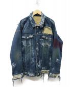 NO ID.(ノーアイディー)の古着「ストレッチデニムデストロイ加工Gジャン ジャケット」|インディゴ