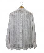 SINME(シンメ)の古着「HIGH NECKED STRIPE SHIRTS シャツ」 ホワイト