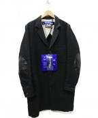 JUNYA WATANABE COMME des GARCON(ジュンヤワタナベ コムデギャルソン)の古着「20AW ウール麻ツイル縮絨x牛革 コート」|ブラック