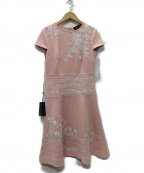 TADASHI SHOJI(タダシ ショージ)の古着「CAP SLEEVE NEOPRENE PANEL ドレス」|ピンク