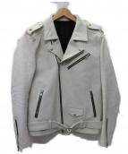 NO ID.(ノーアイディー)の古着「カウレザーワンスターWライダースJKT ジャケット」|ホワイト
