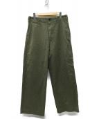 AURALEE(オーラリー)の古着「WASHED FINX CHINO WIDE パンツ」|カーキ