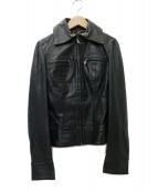 DOLCE & GABBANA(ドルチェアンドガッバーナ)の古着「レオパード レザーライダースジャケット」|ブラック
