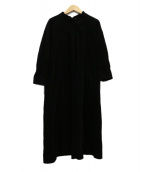 toHu(トフ)の古着「ドロップカラー起毛コットンワンピース」|ブラック