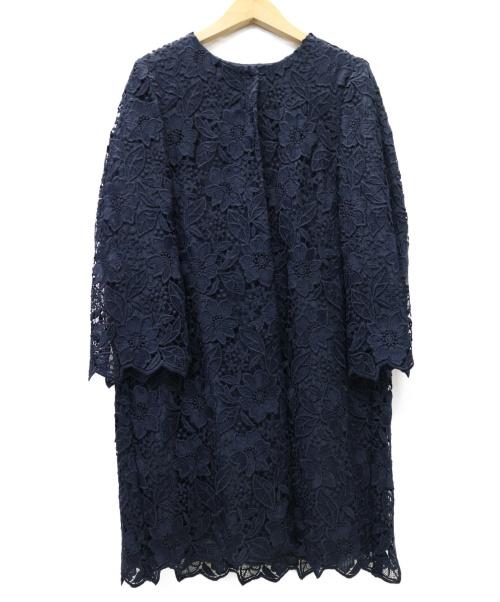 ANAYI(アナイ)ANAYI (アナイ) フラワーレースクルーネックコート ネイビー サイズ:38 101717-17-010の古着・服飾アイテム