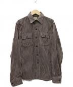 DELUXE(デラックス)の古着「HICKORY HEAVY NEL SHIRT ネルシャツ」|ブラウン