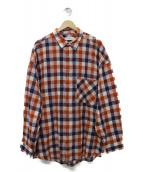 Graphpaper(グラフペーパー)の古着「Check Oversized Shirt シャツ」 レッド