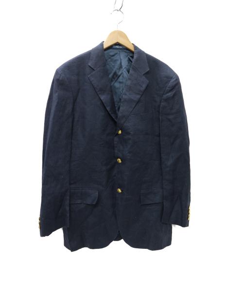RALPH LAUREN(ラルフローレン)RALPH LAUREN (ラルフローレン) リネン 金釦3Bジャケット ブレザー ネイビー サイズ:48 POLO RALPH LAURENの古着・服飾アイテム
