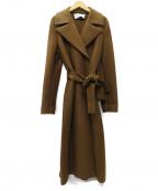 HARRIS WHARF LONDON(ハリスワーフロンドン)の古着「タイベルト ウールロングコート」|ブラウン