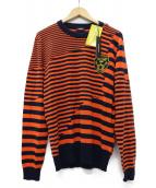 DIESEL(ディーゼル)の古着「タイガーワッペンボーダーニット」|オレンジ